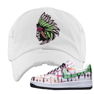 Air Force 1 Low Multi-Colored Tie-Dye Distressed Dad Hat | White, Indian Chief