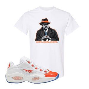 Question Low Vivid Orange T-Shirt | Capone Illustration, White