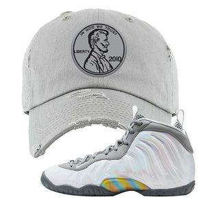 Lil Posite One Rainbow Pixel Distressed Dad Hat | Light Gray, Penny