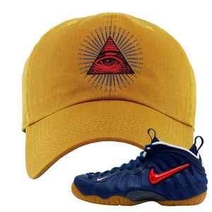 Air Foamposite Pro USA Dad Hat | Timber, All Seeing Eye