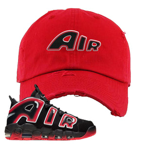 Air More Uptempo Laser Crimson Air From The Sneaker Red Sneaker Hook Up Distressed Dad Hat