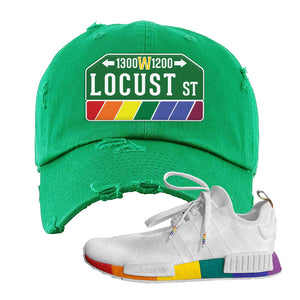 NMD R1 Pride Distressed Dad Hat | Kelly Green, Locust Street Sign