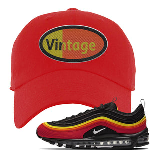 Air Max 97 Black/Chile Red/Magma Orange/White Sneaker Red Dad Hat | Hat to match Nike Air Max 97 Black/Chile Red/Magma Orange/White Shoes | Vintage Oval
