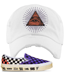 Vans Slip On Venice Beach Pack Distressed Dad Hat | White, All Seeing Eye