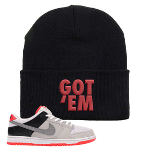 Nike SB Dunk Low Infrared Orange Label Got Em Black Beanie To Match Sneakers