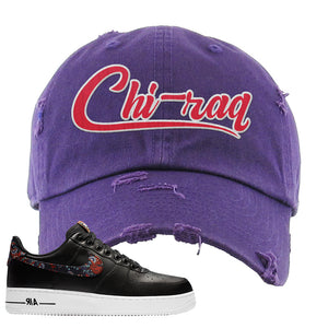Air Force 1 Low Black Floral Distressed Dad Hat | Chiraq, Purple