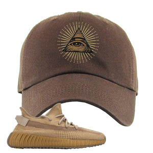 Yeezy Boost 350 V2 Earth Sneaker Dad Hat To Match | All Seeing Eye, Brown