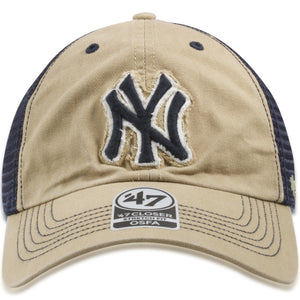 New York Yankees Khaki / Navy Blue Mesh-Back Flexfit Trucker Hat