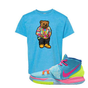 Kyrie 6 Pool Kids T-Shirt | Sweater Bear, Heather Sapphire