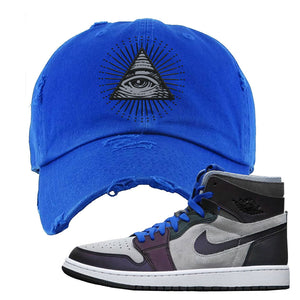 Air Jordan 1 High Zoom E-Sports Distressed Dad Hat | All Seeing Eye, Royal Blue