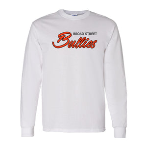 Broad Street Bullies Long Sleeve T-Shirt | Broad Street Bullies White Longsleeve T-Shirt the front of this longsleeve has the bullies script
