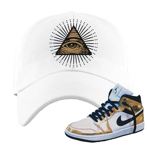 Air Jordan 1 Mid SE Metallic Gold Dad Hat | All Seeing Eye, White