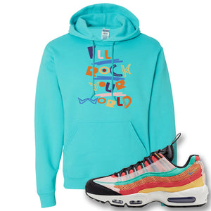 Air Max 95 Black History Month Sneaker Scuba Blue Pullover Hoodie | Hoodie to match Nike Air Max 95 Black History Month Shoes | I'll Rock Your World