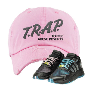 Ninja x adidas Nite Jogger Distressed Dad Hat | Trap To Rise Above Poverty, Pink