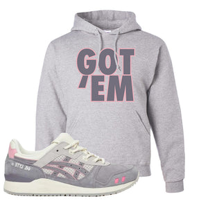 END x Asics Gel-Lyte III Grey And Pink Hoodie | Got Em, Ash