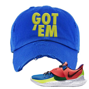 Kyrie Low 3 NY vs NY Distressed Dad Hat | Got Em, Royal Blue