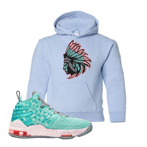 Lebron 17 South Beach Kids Pullover Hoodie | Indian Chief, Light Blue