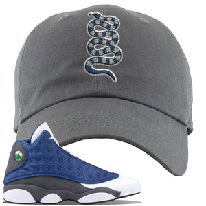 Jordan 13 Flint 2020 Sneaker Dark Gray Dad Hat | Hat to match Nike Air Jordan 13 Flint 2020 Shoes | Coiled Snake