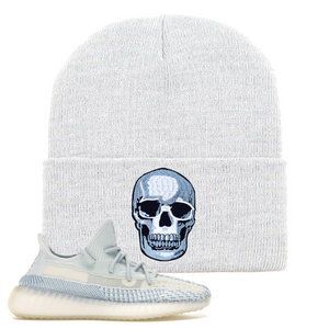 Yeezy Boost 350 V2 Cloud White Non-Reflective Skull Sneaker Matching White Beanie