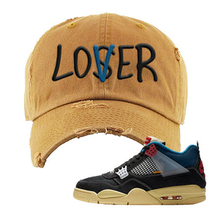 Union LA x Air Jordan 4 Off Noir Distressed Dad Hat | Lover, Timber