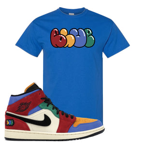 Jordan 1 Mid Fearless Blue The Great Blue Royal Blue Sneaker Hook Up T-Shirt