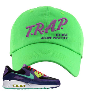 Air Max 90 Cheetah Dad Hat | Trap To Rise Above Poverty, Neon Green