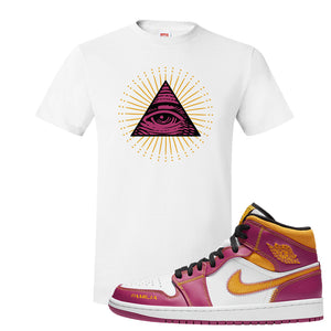 Air Jordan 1 Mid Familia T Shirt | All Seeing Eye, White