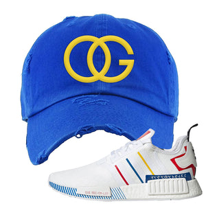 NMD R1 Olympic Pack Distressed Dad Hat | Royal Blue, OG