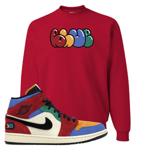 Jordan 1 Mid Fearless Blue The Great Blue Red Sneaker Hook Up Crewneck Sweatshirt