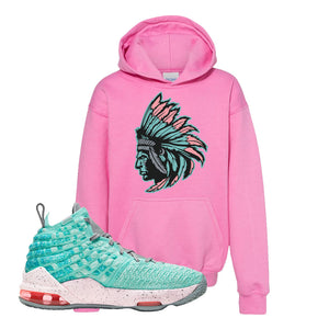 Lebron 17 South Beach Kids Pullover Hoodie | Indian Chief, Azalea