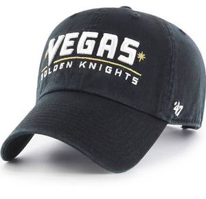 Embroidered on the front of the Las Vegas Golden Knights black dad hat is the word Vegas in white above a golden strip and the word golden knights embroidered in white