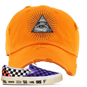 Vans Slip On Venice Beach Pack Distressed Dad Hat | Orange, All Seeing Eye