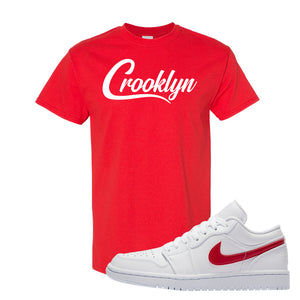 Air Jordan 1 Low White and Varsity Red T Shirt | Crooklyn, Red