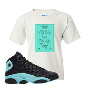 Diamond Patent White Kid's T-Shirt To Match Jordan 13 Island Green Sneakers