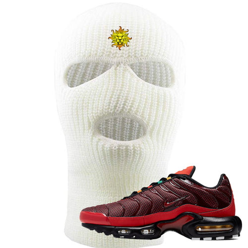 Embroidered on the forehead of the air max plus sunburst sneaker matching white ski mask is the vintage lion head logo