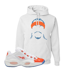 Question Low Vivid Orange Hoodie | Headband Corn Rows, White