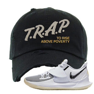 Kyrie Low 3 Distressed Dad Hat | Black, Trap To Rise Above Poverty