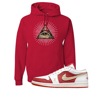Air Jordan 1 Low Spades Hoodie | All Seeing Eye, Red