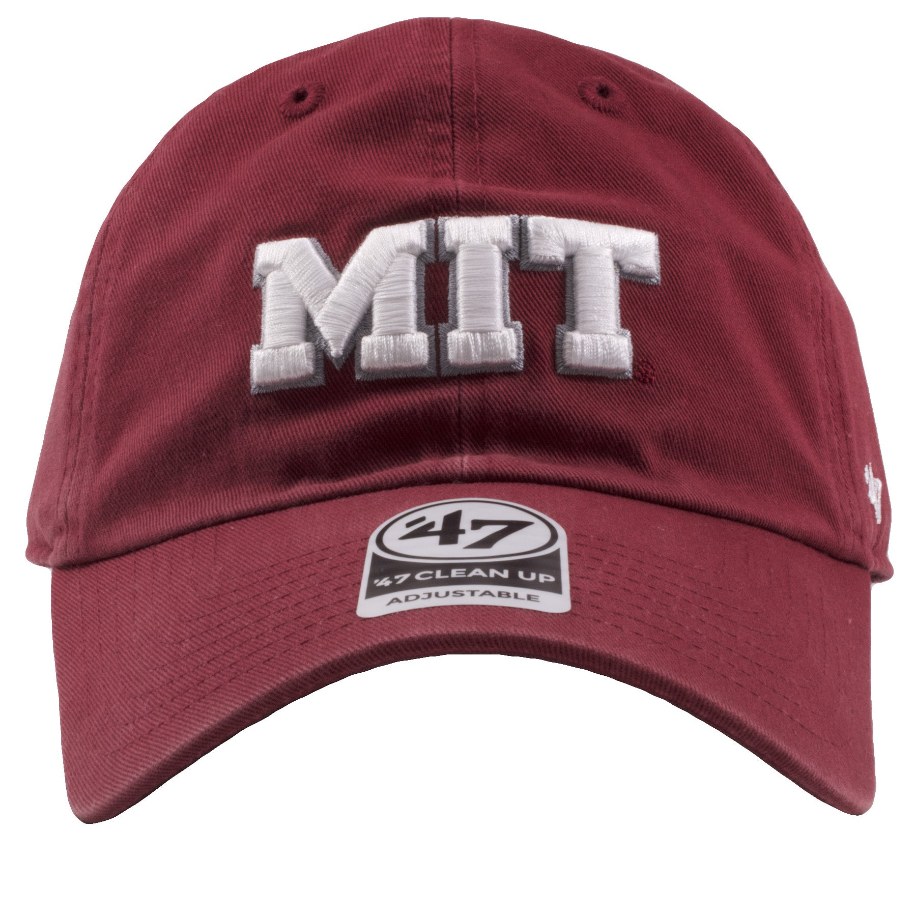 Embroidered on the front of the MIT maroon adjustable dad hat is the MIT  logo embroidered 6facd681e9b6