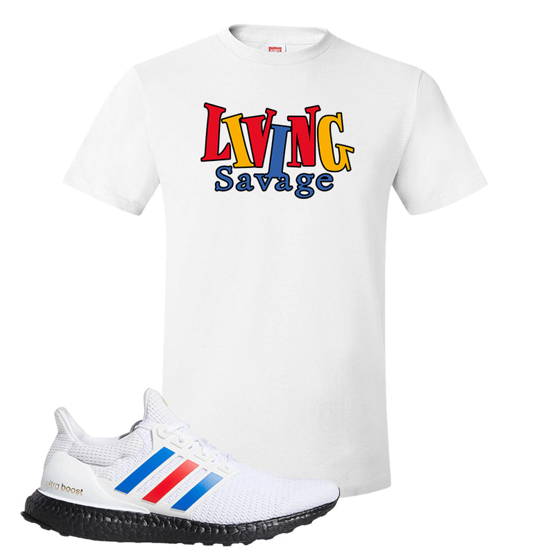 Ultra Boost White Red Blue T Shirt | White, Living Savage
