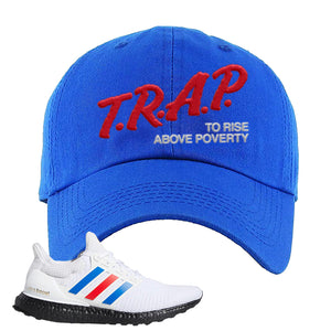Ultra Boost White Red Blue Dad Hat | Royal Blue, Trap To Rise Above Poverty