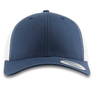 The navy blue bent brim white mesh-back trucker hat has a high structured crown, a bent brim, and a white netting on the back
