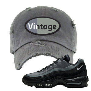 Air Max 95 Black Smoke Grey Distressed Dad Hat | Vintage Oval, Dark Gray