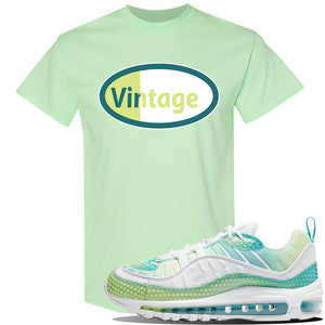 WMNS Air Max 98 Bubble Pack Sneaker Mint Green T Shirt | Tees to match Nike WMNS Air Max 98 Bubble Pack Shoes | Vintage Oval