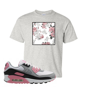 WMNS Air Max 90 Rose Pink Flower Box Ash Kid's T-Shirt To Match Sneakers
