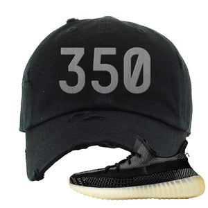 Yeezy Boost 350 v2 Carbon Distressed Dad Hat | 350, Black