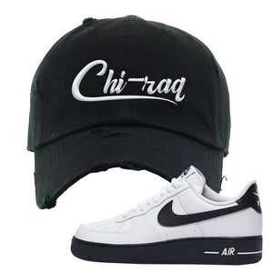 Air Force 1 Low White Black Distressed Dad Hat | Black, Chiraq