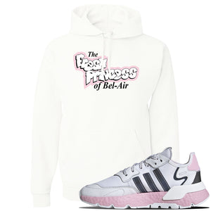 WMNS Nite Jogger Pink Boost Sneaker White Pullover Hoodie | Hoodie to match Adidas WMNS Nite Jogger Pink Boost Shoes | Fresh Princess Of Bel Air