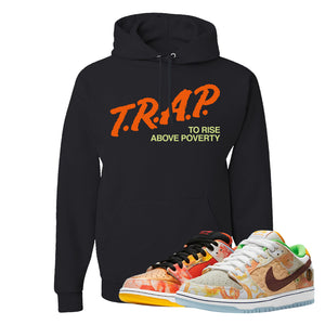 SB Dunk Low Street Hawker Hoodie | Trap To Rise Above Poverty, Black