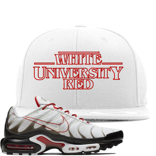 Nike Air Max Plus White University Red Sneaker Match Stranger Things white Snapback